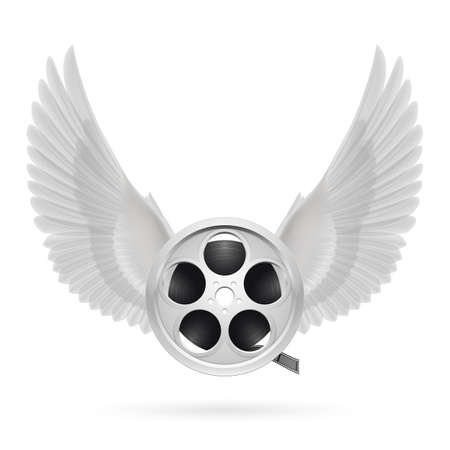 Realistic film reel with white wings emblem Illustration