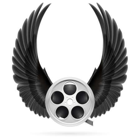 cinema film: Realistic film reel with raised up black wings Illustration