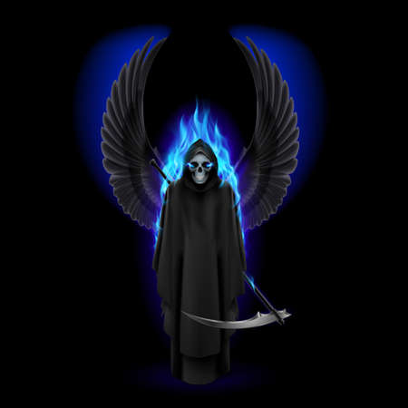 fire skull: Grim Reaper with wings and blue flame on black Illustration