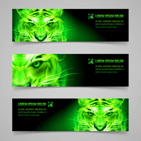 Set of banners with mystic tiger in green flame
