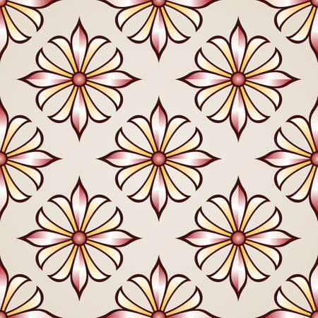 simple flower: Seamless floral pattern with rose pink and light brown flowers