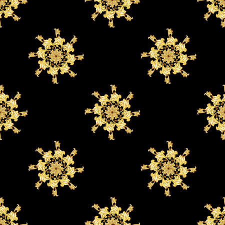 victorian scroll: Seamless gold floral elements on black background