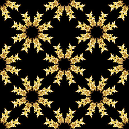 scroll tracery: Seamless golden floral elements on black background Illustration