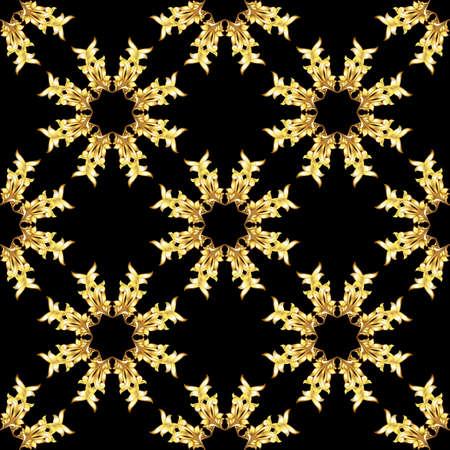 Seamless golden floral elements on black background Illustration