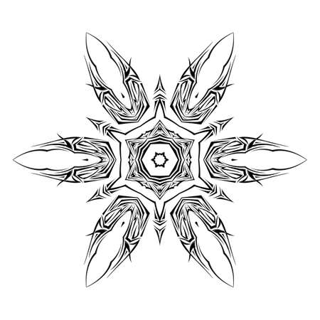 Sketch of tattoo as shuriken on the white background Vector