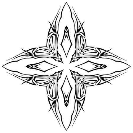 shuriken: Boceto del tatuaje como shuriken con cuatro puntas sobre fondo blanco