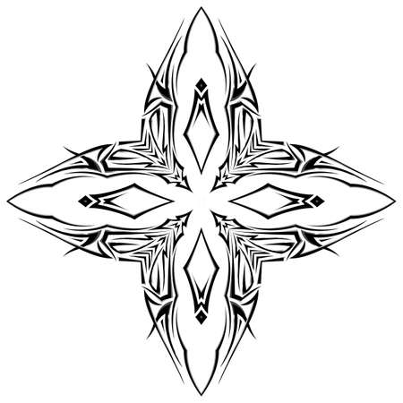 Sketch of tattoo as shuriken with four tips  on white background Vector