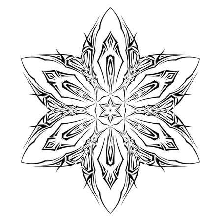 shuriken: Boceto del tatuaje como shuriken con seis puntas sobre fondo blanco