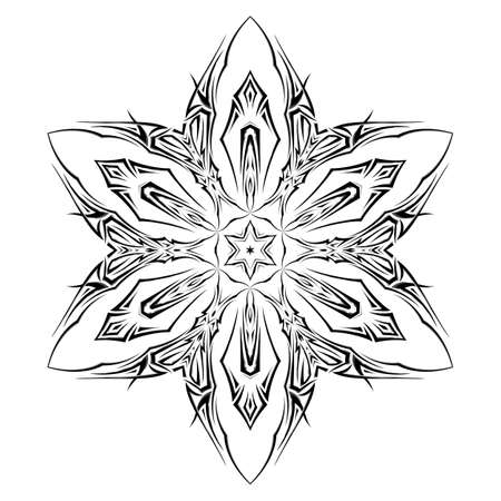 Sketch of tattoo as shuriken with six tips  on white background Vector