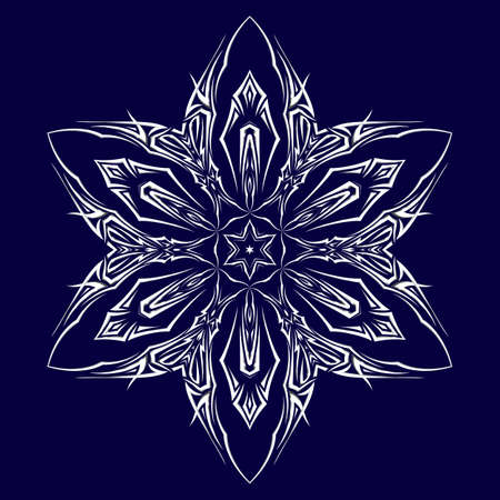 Tattoo as shuriken with six tips on darkblue background Vector