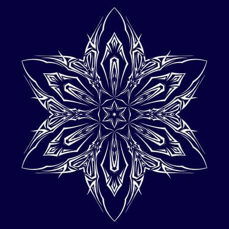 shuriken: Tatuaje como shuriken con seis puntas sobre fondo azul oscuro