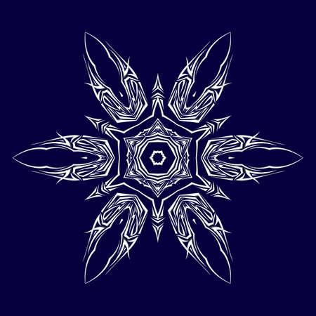 shuriken: Boceto del tatuaje como shuriken con seis extremidades en azul oscuro de fondo Vectores