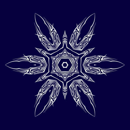 throwing knife: Sketch of tattoo as shuriken with six tips on darkblue background