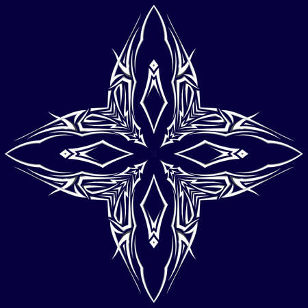 Sketch of tattoo as shuriken with four tips on darkblue background Vector