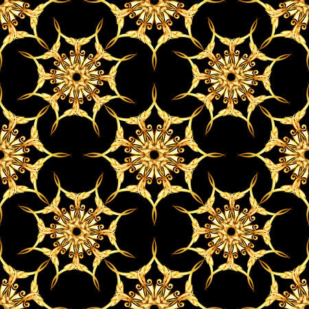 scroll tracery: Seamless gold floral patterns on black background