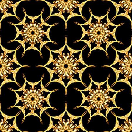 Seamless gold floral patterns on black background