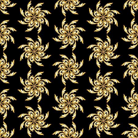 flower patterns: Naadloze gouden bloem patronen op zwarte achtergrond Stock Illustratie