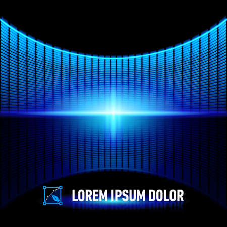 computer clubs: Shiny background with blue digital music equalizer Illustration