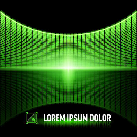 music banner: Shiny background with green digital music equalizer
