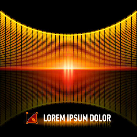 Shiny background with yellow digital music equalizer Vector