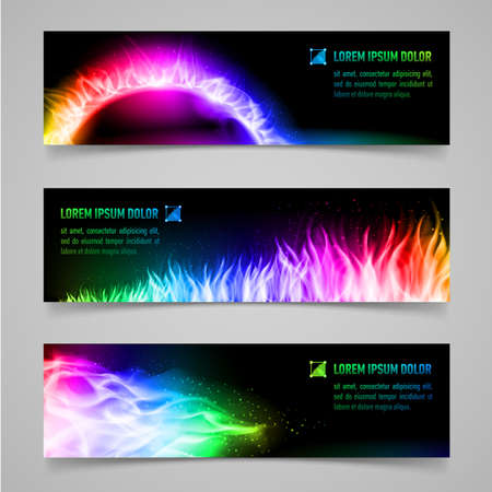mystic: Set of mystic banners with multicolored flame Illustration