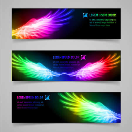 Set of banners with multicolored flaming wings Illustration