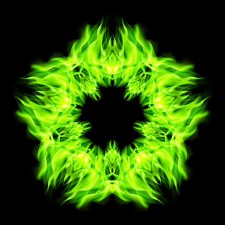 fireballs: Fire star  in green color. Black background