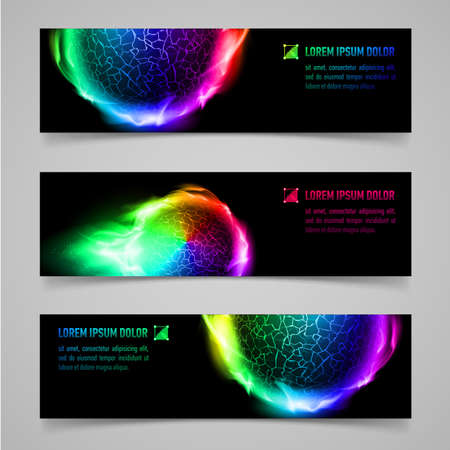 magic ball: Set of multicolored banners with flaming spheres Illustration