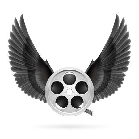 Realistic film reel with black wings emblem Illustration