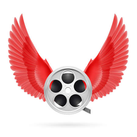 Realistic film reel with red wings emblem