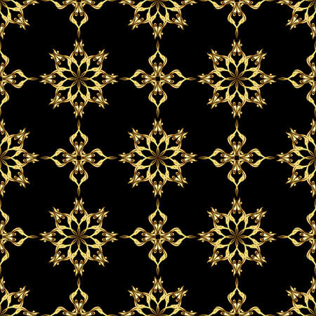 scroll tracery: Seamless gold flower pattern on black background
