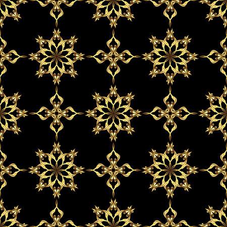 Seamless gold flower pattern on black background