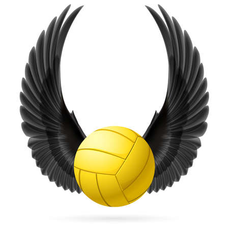 Realistic volley ball with raised up black wings emblem
