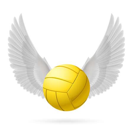 pelota de voley: Voleibol realista con alas blancas emblema