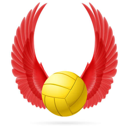 volley ball: Realistic volley ball with raised up red wings emblem