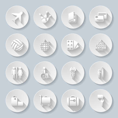 cash dispenser: Set of flat paper icons for transportation, travelling and leisure