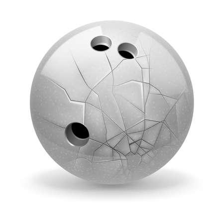 cranny: Bowling. White broken ball on the light background.