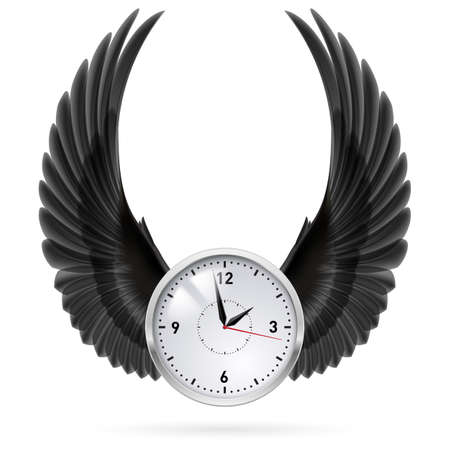 time fly: White clock with black wings. Swing. Fly.