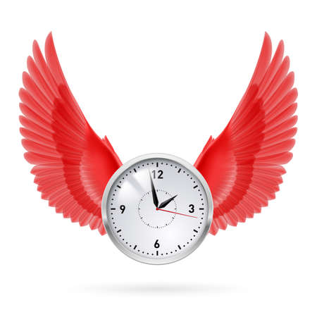 time fly: Clock and red wings. Time. Fly. Hours.