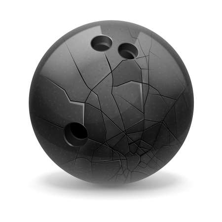 Black broken ball with cracks. White background.