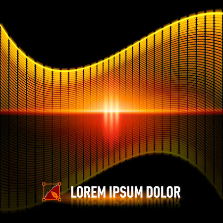 digital music: Luminous background with yellow digital music equalizer