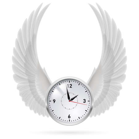 time fly: White clock with vertical white wings. Swing. Illustration