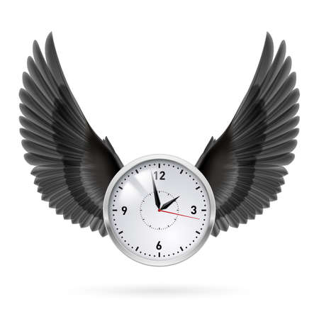 time fly: White clock and black vertical wings. Hour.