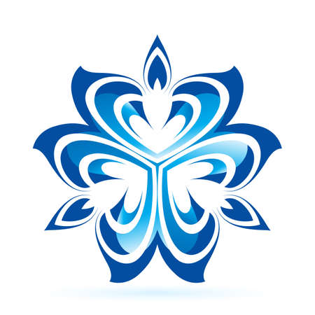 Abstract flower in blue shades on white background  Vector