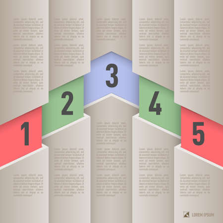 hierarchy chart: Infographics in paper style with colored numbered items from one to five
