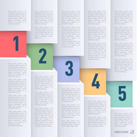 papery: Infographics in paper style with descending colored numbered items from one to five