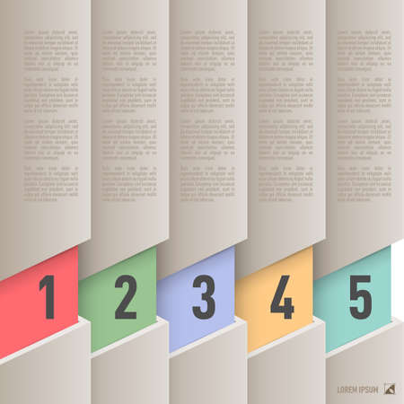 old items: Infographics in old paper style with colorful numbered items from one to five