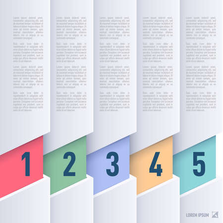 Paper style infographics  with colored numbered items from one to five Vector