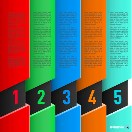 column chart: Infographics in paper style with colorful columns and numbered items from one to five