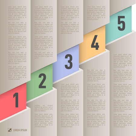 old items: Infographics in old paper style with ascending colored numbered items from one to five Illustration